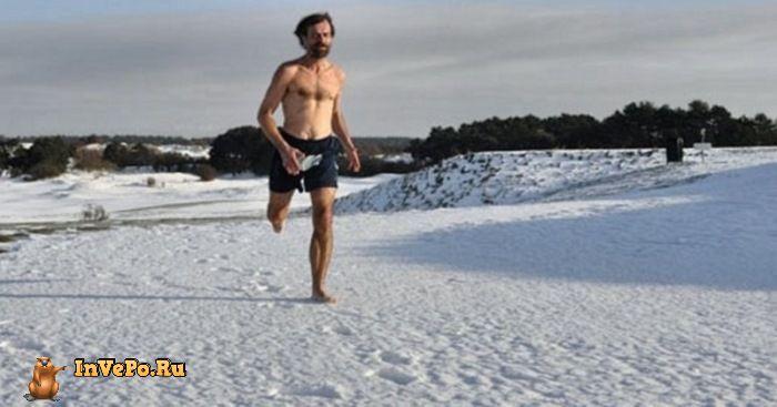 Марафонский забег босиком в снегах Заполярья при 20 градусах мороза