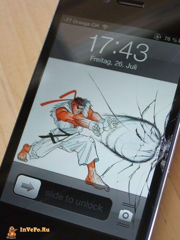 """10+ творческих идей Как """"исправить"""" сломанный экран смартфона"""