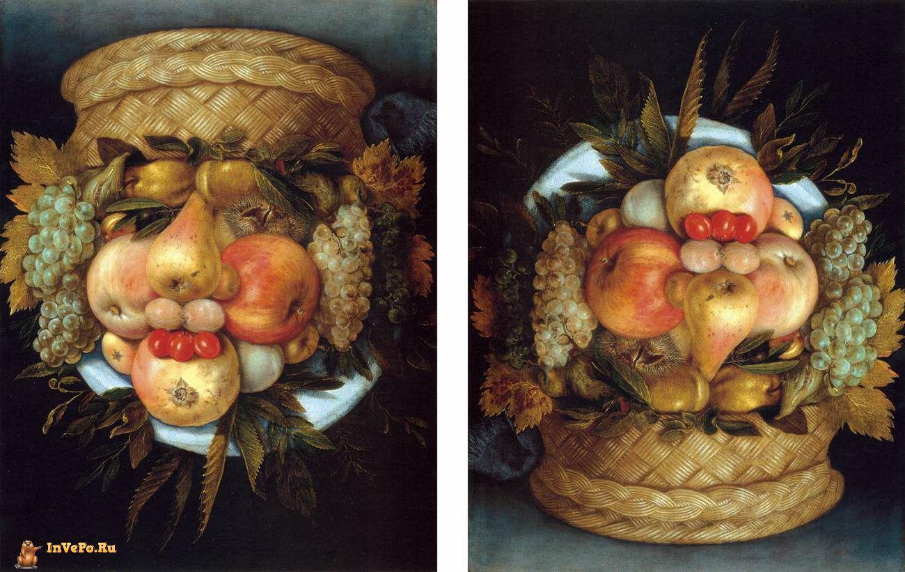 Корзина фруктов, Джузеппе Арчимбольдо, 1590