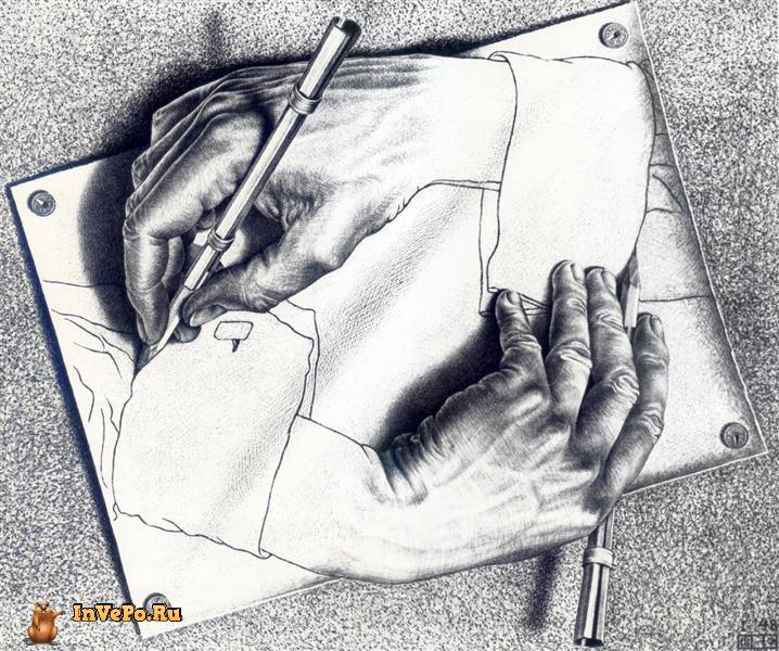 Рисующие руки, Мауриц Эшер, 1948