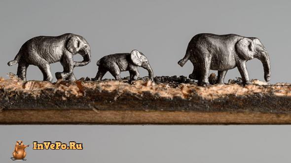 Скульптуры, вырезанные из обычных карандашей