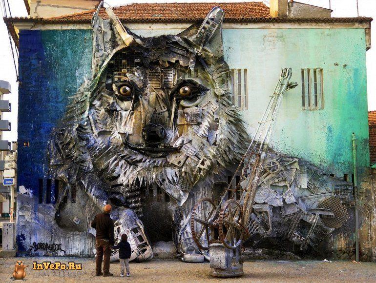 Невероятные 3Д граффити из мусора