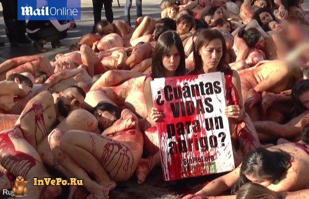 Испанцы облились искусственной кровью ради животных