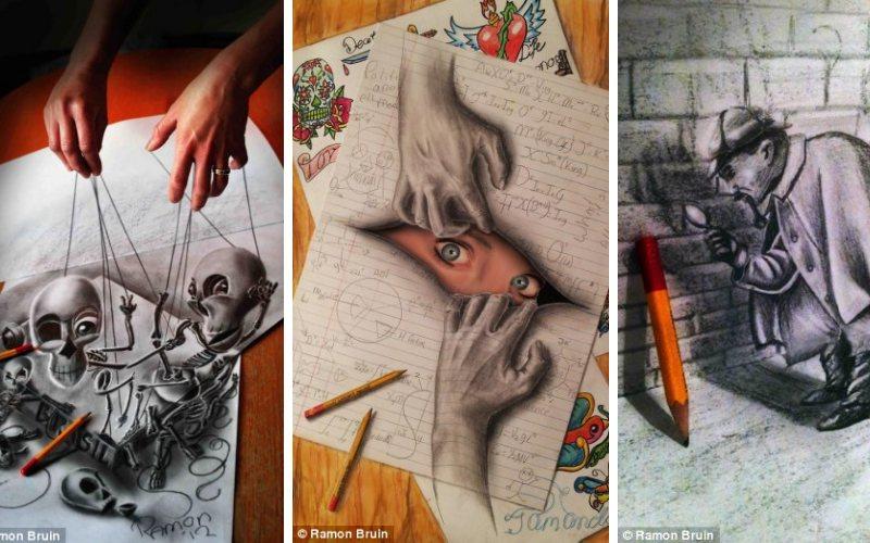 Эти удивительные 3D рисунки готовы вырваться с листа бумаги