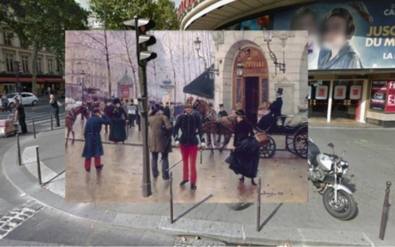 Классические картины плавно переходящие в фотографий из сервиса Google Street View