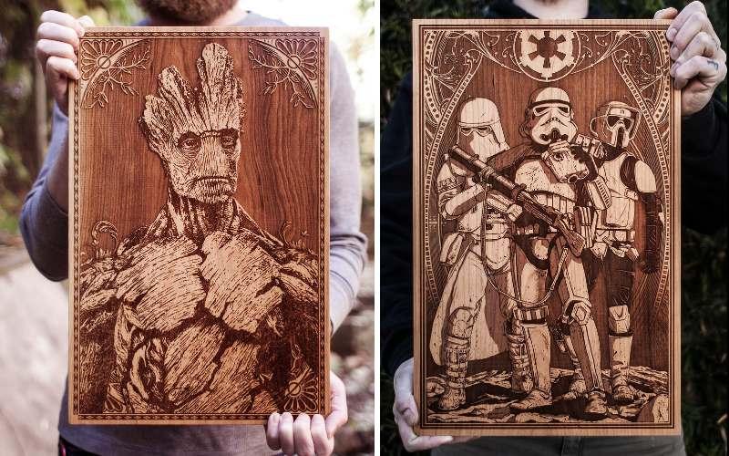 Золотые принты созданные из дерева