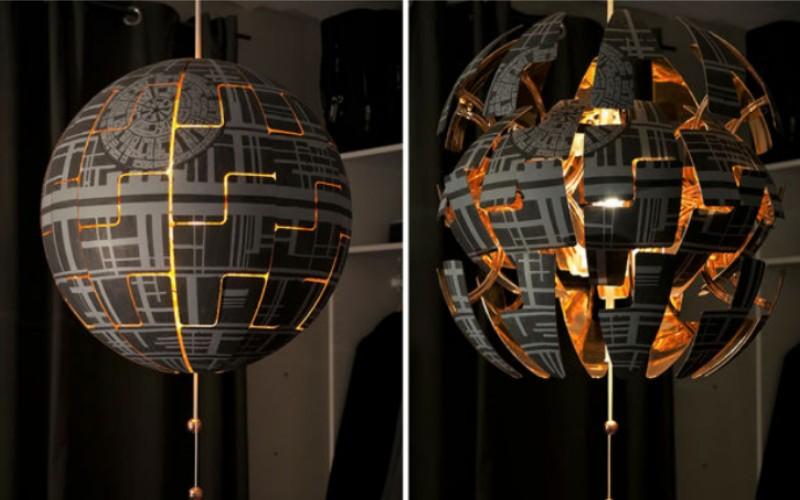 """Потрясающая лампа """"Звезда Смерти"""" из IKEA сделанная своими руками"""
