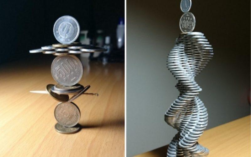 Японец создаёт уникальные сооружения из простых монет