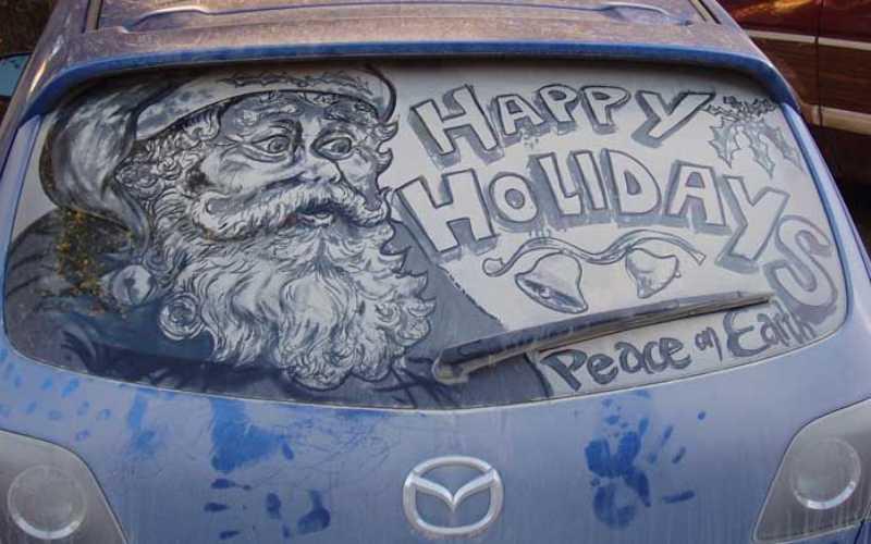 Рисунки на стеклах автомобиля (49 фото)