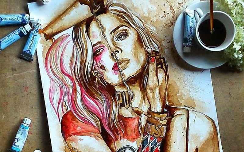 Крутые картины нарисованные с помощью кофе!