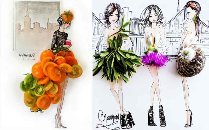 20 фэшн иллюстраций, дополненные ягодами, зеленью, цветами и не только