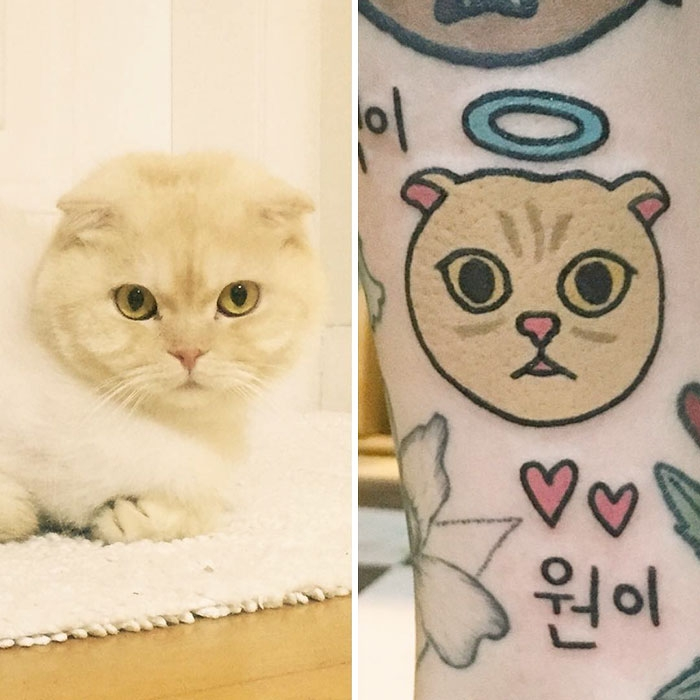 Татуировки своих домашних питомцев в забавном мультяшном стиле